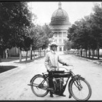 photo of E.L. Luther - 1st Extension agent hired in 1912 on his two-cylinder motorbike