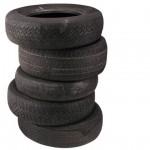 a pile of black tires