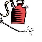 red pesticide sprayer container