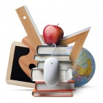 stack of school books, a ruler, an apple, a computer mouse, a globe, and a small chalkboard