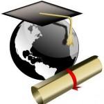 graduate hat, globe, and diploma