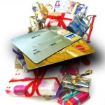 credit cards and wrapped presents