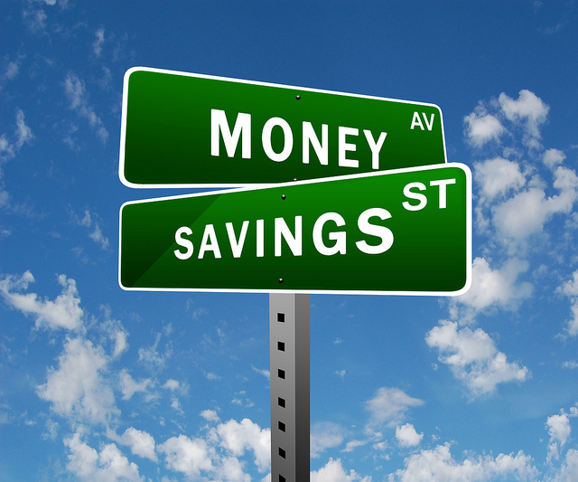 road sign that says Money St and Savings St