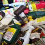 pile of hazardous waste containers