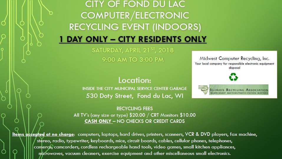 City of Fond du Lac Computer/Electronic Recycling Event information
