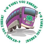 "Bus Clipart depicting 4-H logo exclaiming ""4-H Takes you There!"""