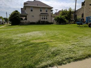 Before photo of the site where the THRIVE Veterans Garden is now located in downtown Fond du Lac