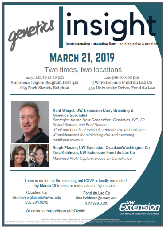 Flyer for Genetics Insight for Dairy