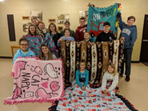 Busy Bees 4-H Club made colorful blankets for Project Linus.