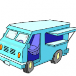 picture of a turquoise food truck