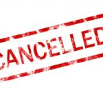 picture of cancelled in bright red letters