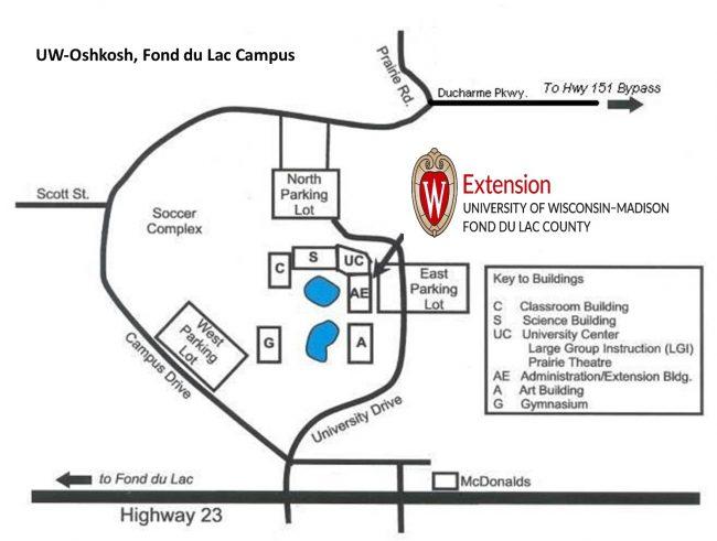 Map of UW-Oshkosh, Fond du Lac Campus